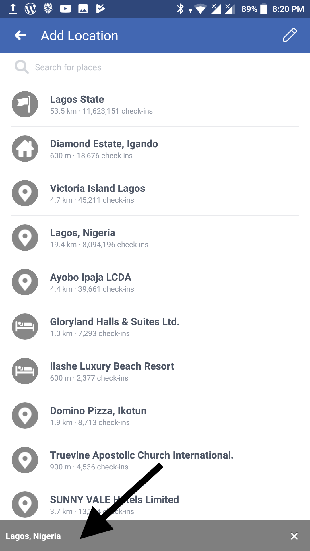 facebook location in status