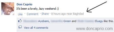 how to add fake location under facebook status update
