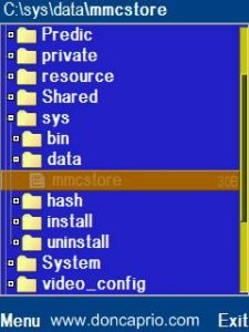 Run fexplorer and open the path c:system 4 find the file called mmcstore, and rename it mmcstoretxt 5