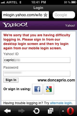 how to fix yahoo mail login error