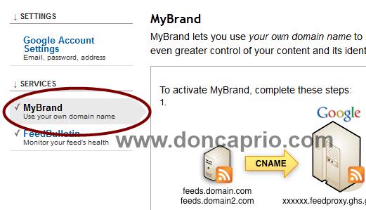 using custom domain for feedburner url