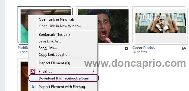 how to download your facebook album