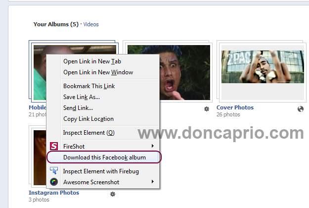 how to download your facebook album