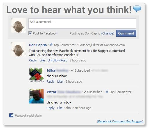 new facebook comment box for blogger with notification