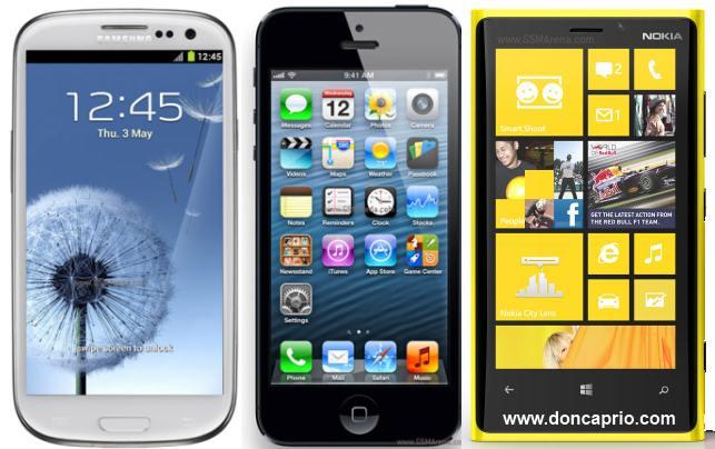 iphone 5 vs samsung galaxy s3 vs nokia lumnia 920