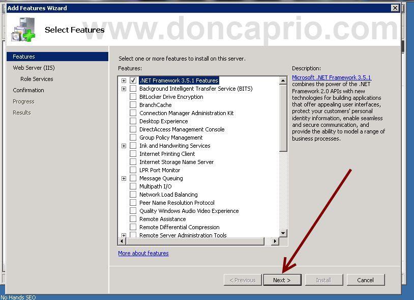 install Microsoft .NET framework 3.5 on Windows server 2008