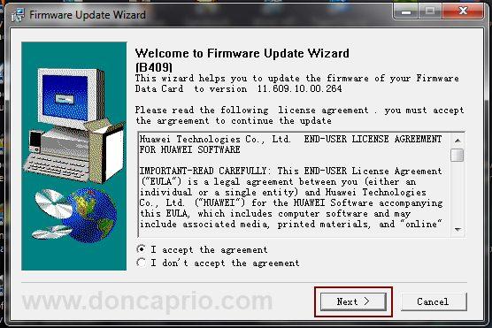how to upgrade huawei modem firmware