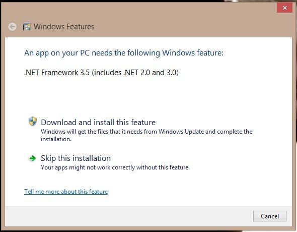 microsoft .net framework 3.5 offline installation on windows 8