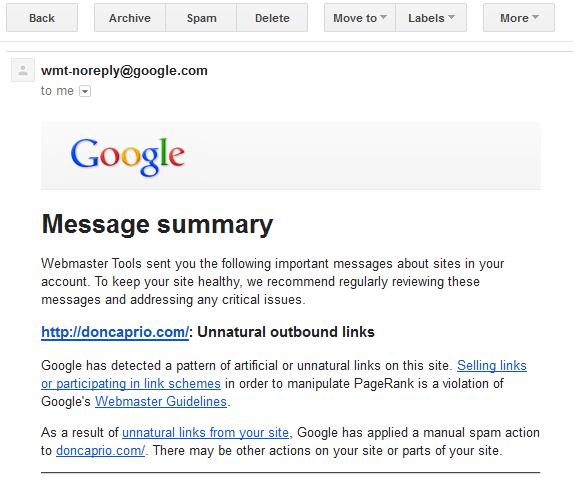 google manual penalty