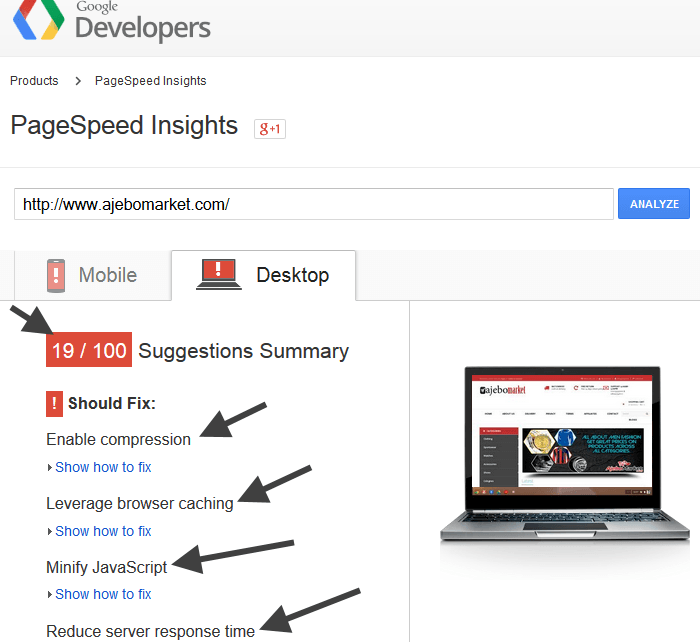 Google PageSpeed Insight for AJebomarket