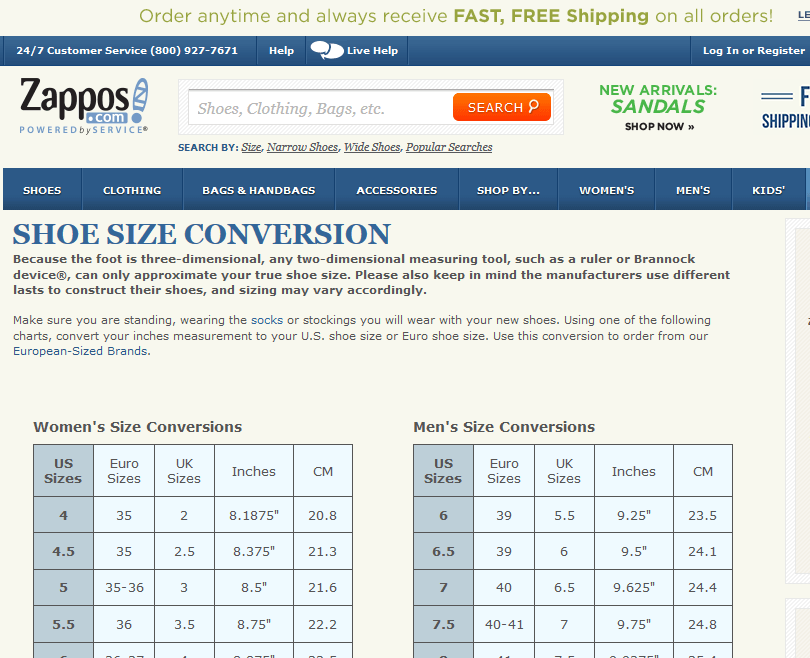 Show size conversion guide as seen on Zappos