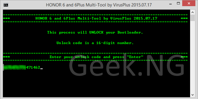 enter unlock code