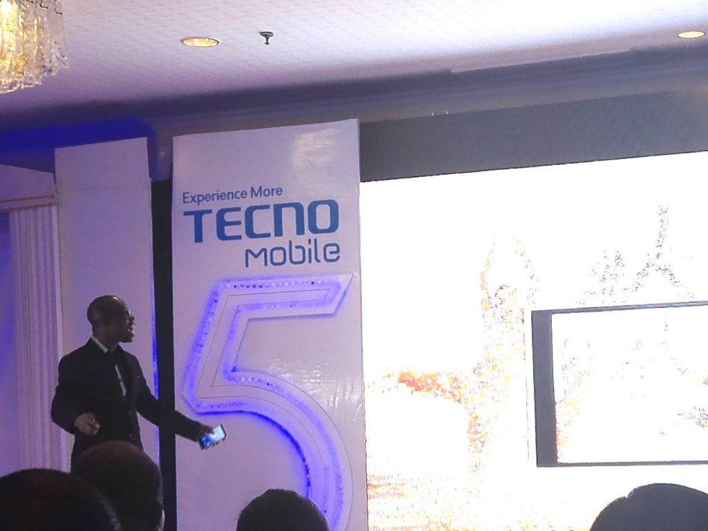Jesse Oguntimehin, Digital Marketing Manager for Tecno Mobile delivering a presentation during the launch