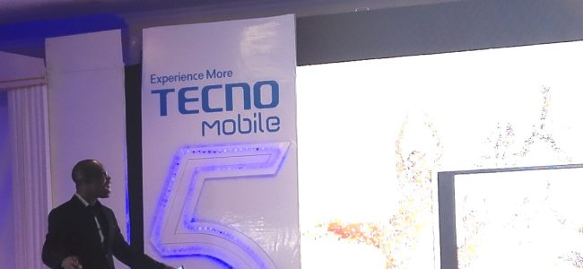 Jesse Oguntimehin, Digital Marketing Manager for Tecno Mobile delivering a presentation during the launch
