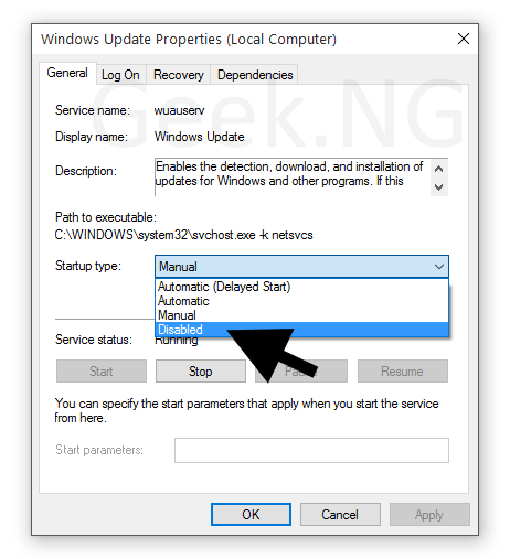 disable windows update on windows 10