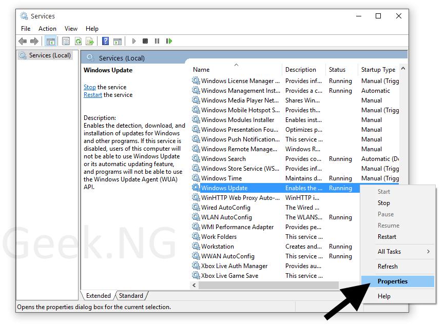 windows update service properties