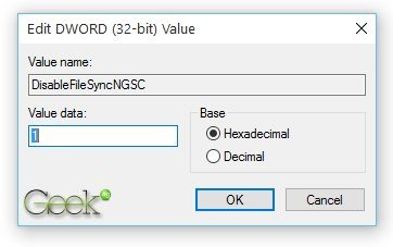 DisableFileSyncNGSC value