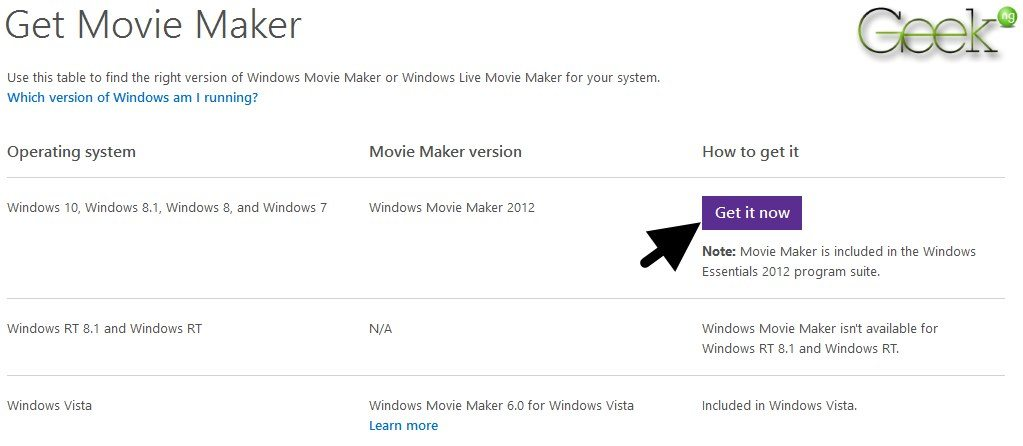 get windows movie maker