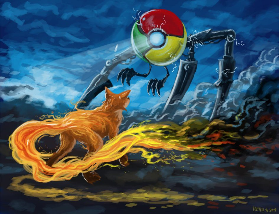 Chrome vs Firefox illustration. Image source Xahlee.info