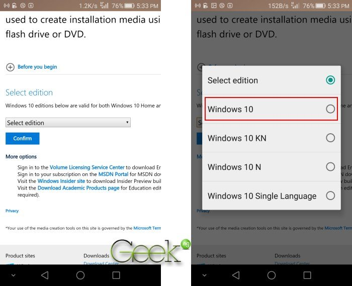 windows 10 ISO direct download link