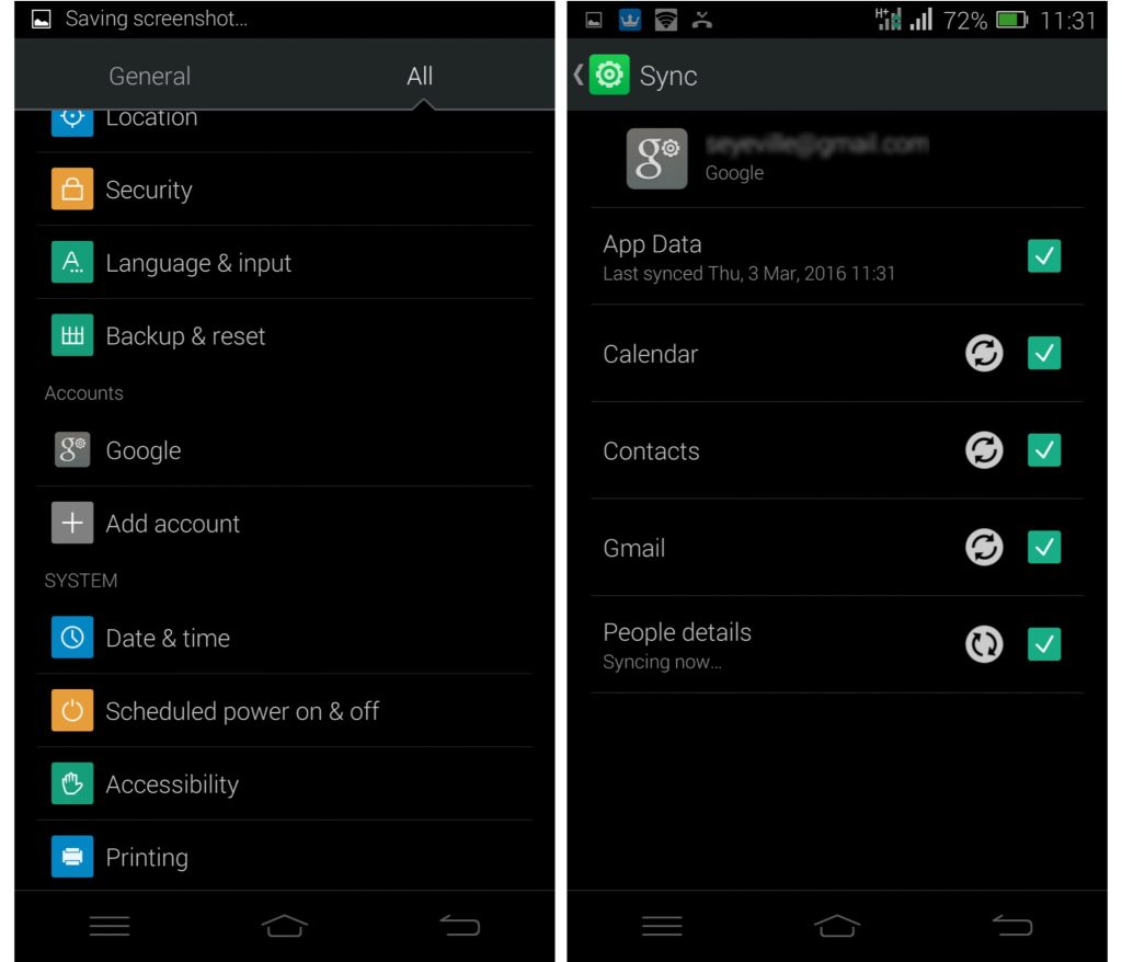Contacts sync with google on android