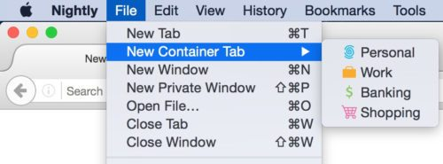 container tab menu
