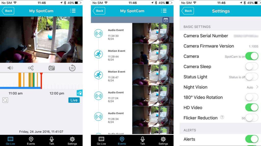Spotcam iOS app