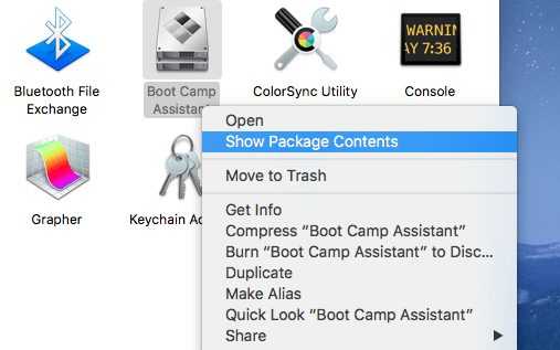 right-click on boot camp assistant