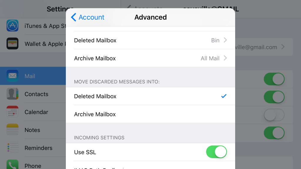 ios advanced mail settings