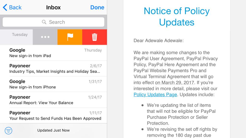 delete button on iOS default mail app