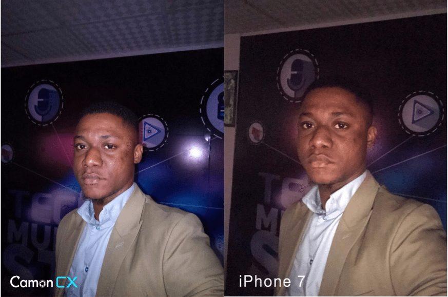 tecno camon cx vs iPhone 7 selfiea