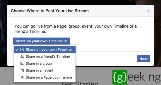 facebook live target selector