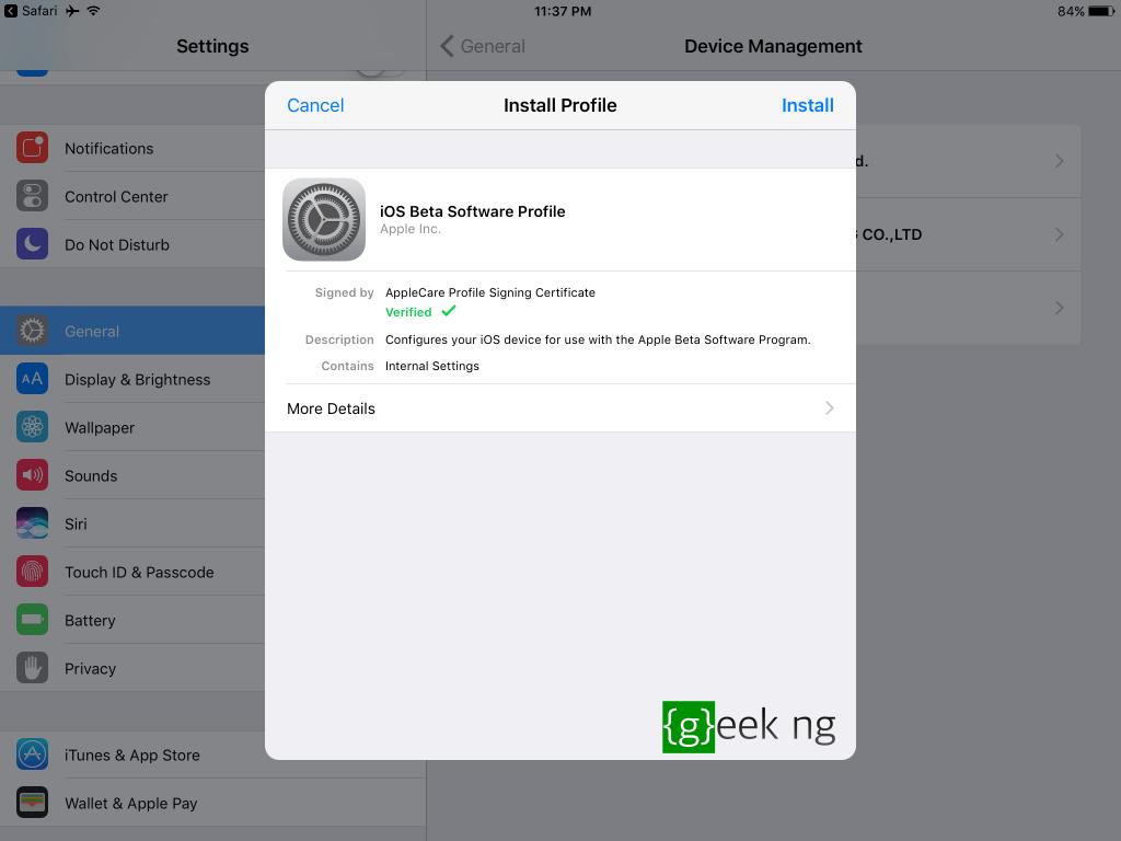 ios 11 profile install