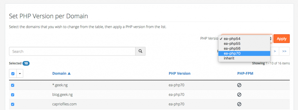 select PHP version on cPAnel
