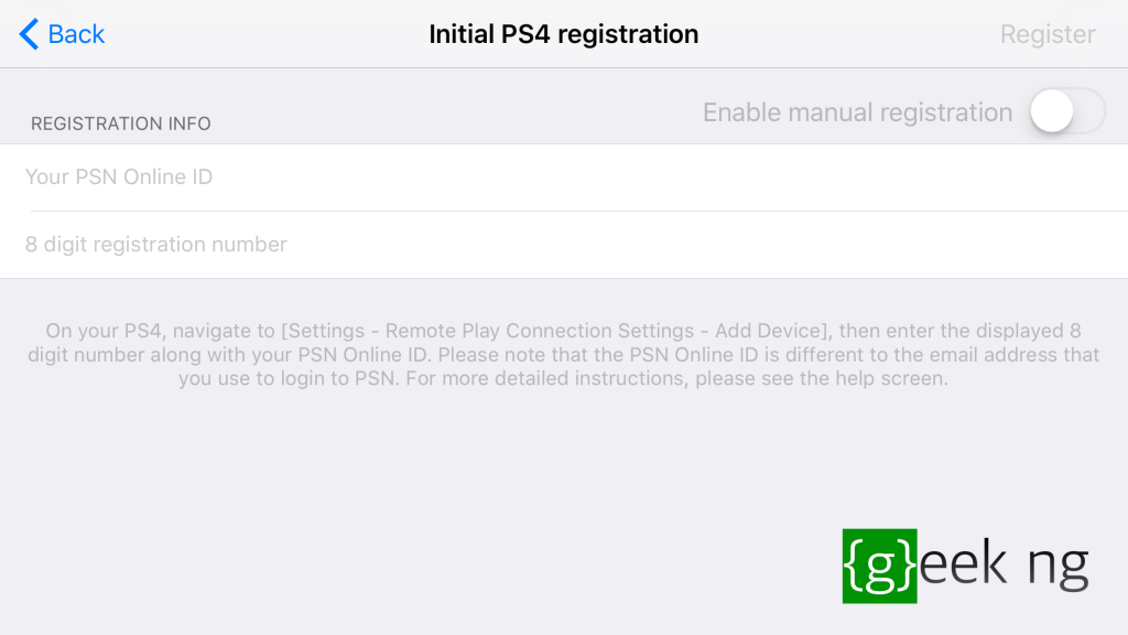 initial ps4 registration on r-pay