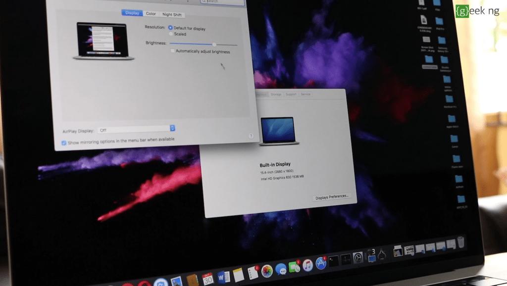macbook pro 15 2017 display