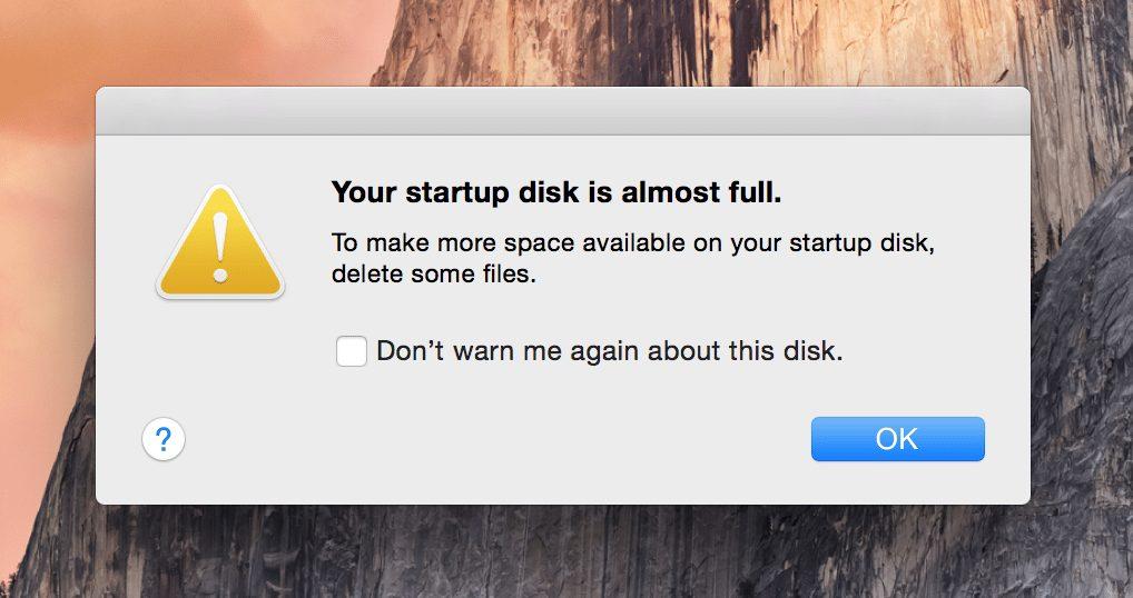 disk full on macos