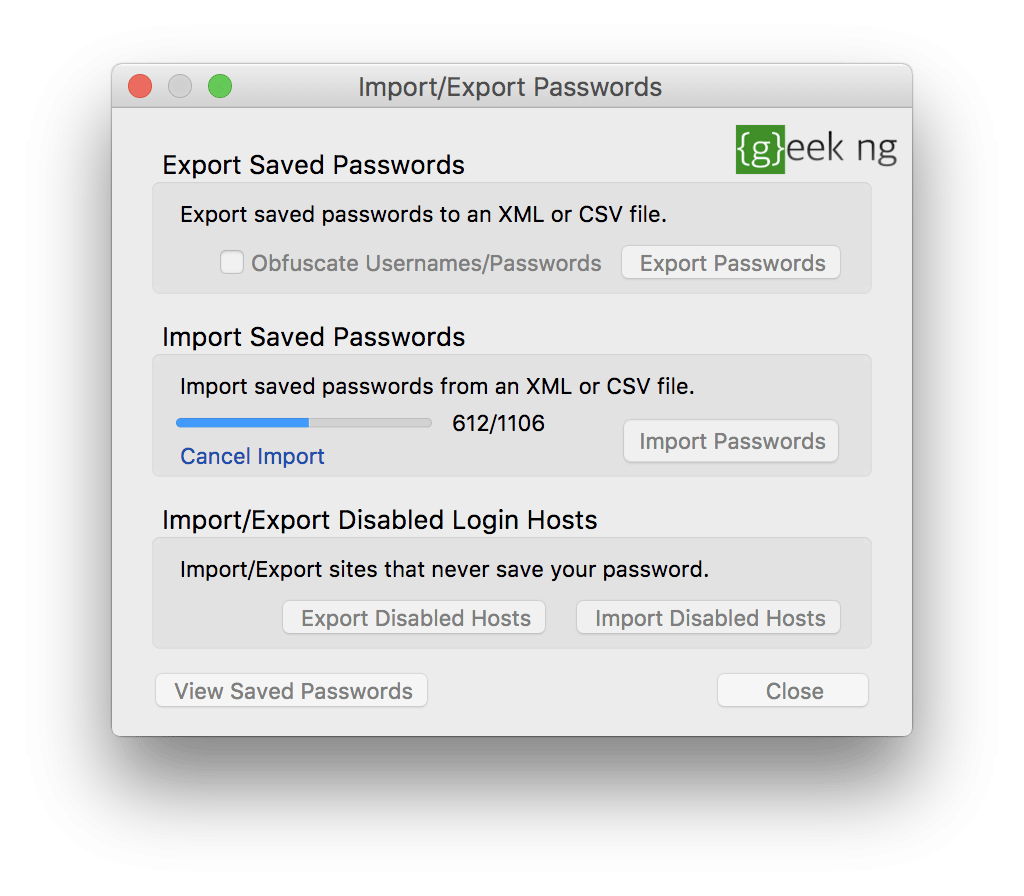 importing passwords to ff