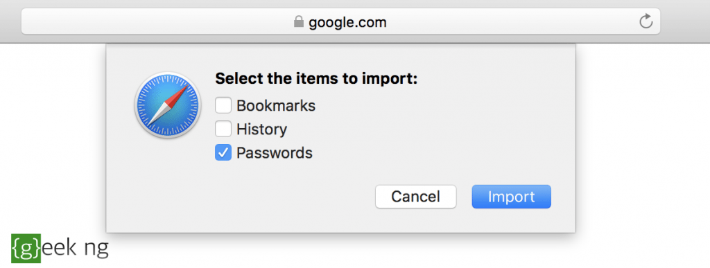 import passwords into safari from chrome