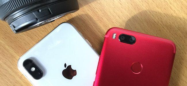 iPhone X and Xiaomi Mi A1