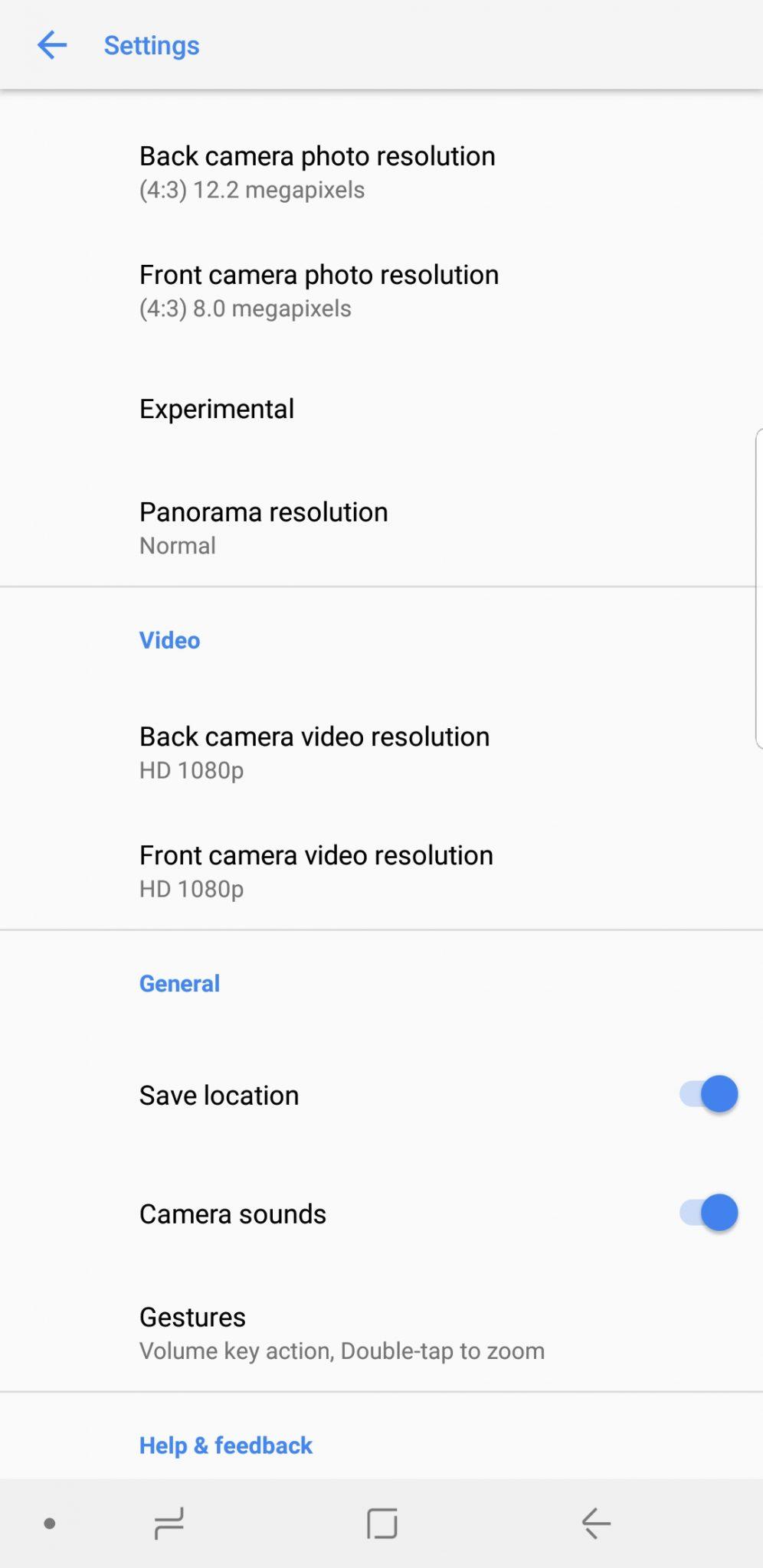 google camera settings galaxy s8+