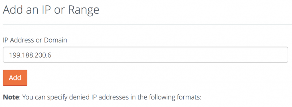 block ip address on cpanel