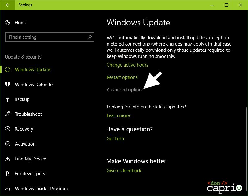 advanced options windows update