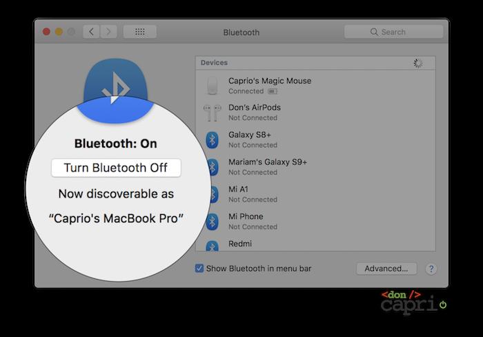 bluetooth settings macOS