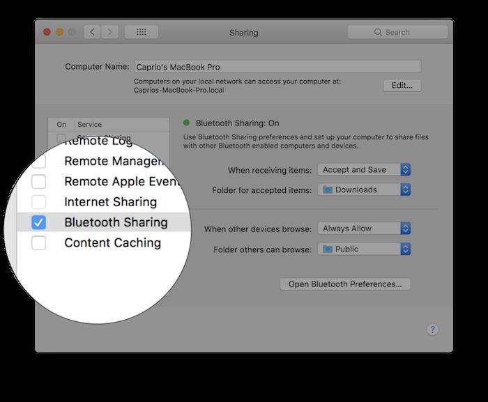 enable bluetooth sharing macos