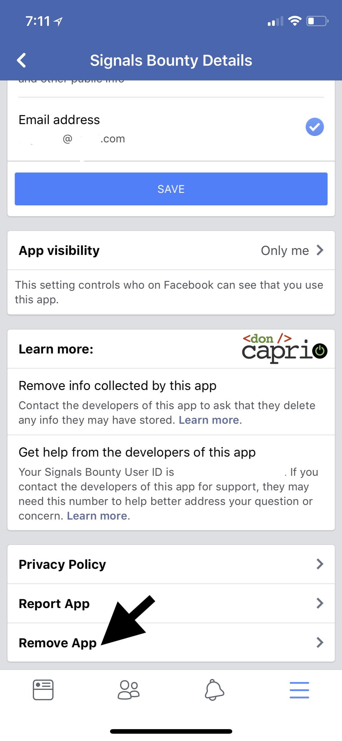 facebook app details remove app
