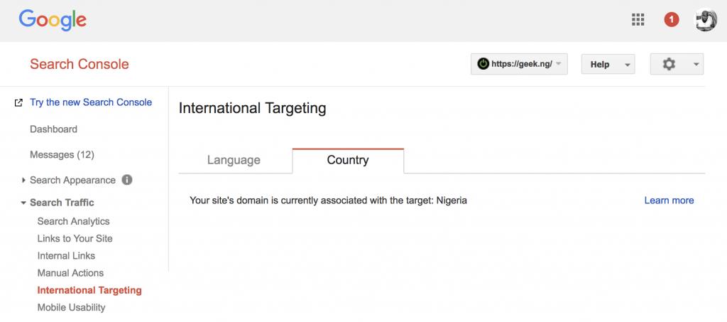 webmaster tools ccTLD international targeting...