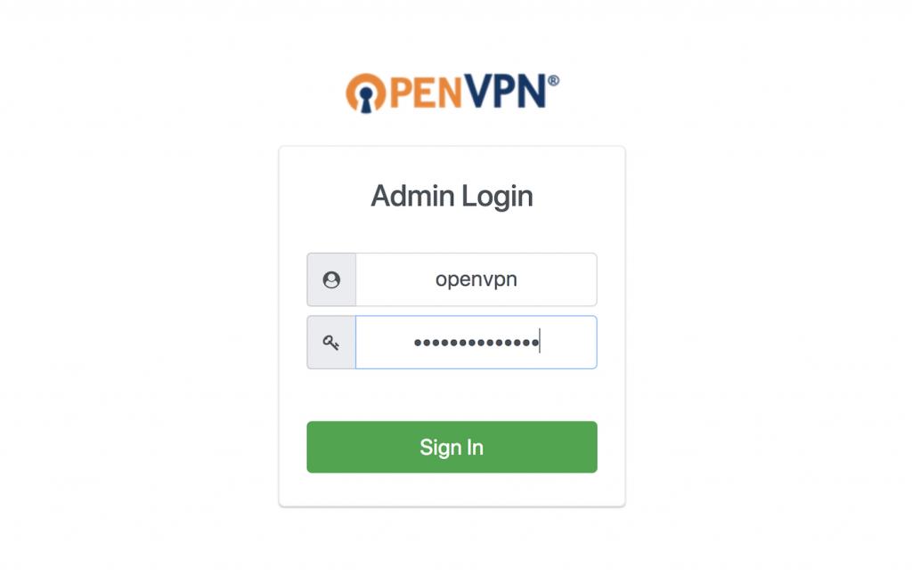 login to openvpn admin