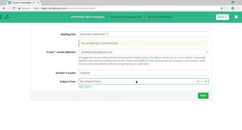 Sendplus Create Email Campaign